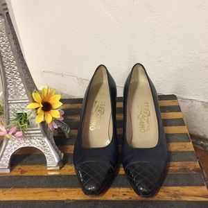 Salvatore Ferragamo Navy Pumps, 6 1/2B
